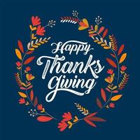 Happy Thanksgiving Typografie Poster mit Blattrahmen