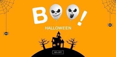 halloween försäljning banner med boo text vektor