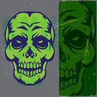 vintage grönt och blått skallehuvud vektor