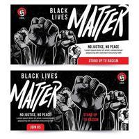 svart liv materia lyft näve banner