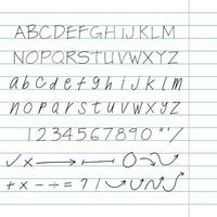 handritad arkitekt bokstäver set