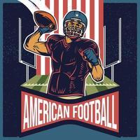 Retro-Plakat des amerikanischen Fußballs, der einen Pass wirft