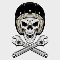 Vintage Biker Schädel und Schraubenschlüssel vektor