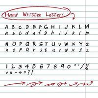 handritade skriftliga bokstäver och elementuppsättning