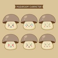 süße Pilz Charaktere gesetzt vektor
