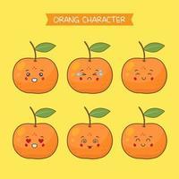 söta orange teckenuppsättning