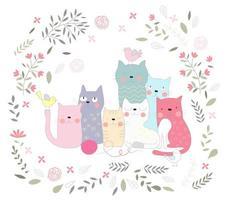 Gruppe von Katzen und Blumen