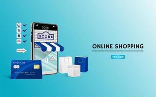 onlinebutikkoncept med blå kreditkort och påsar