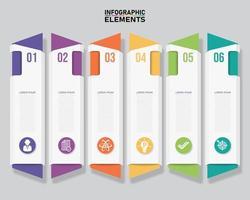 färgglada rena 6 vinklade vertikala infographic banners vektor