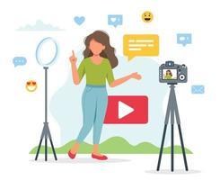 videobloggaruppsättning med kvinnlig inspelning