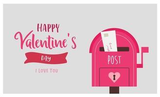valentin hälsning med rosa postbox och kärleksbrev
