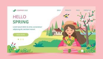 flicka håller blommor i vårlandskap