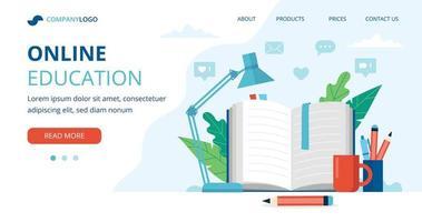 Online-Bildungskonzept mit offenem Buch