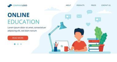online utbildning koncept med pojke studerar