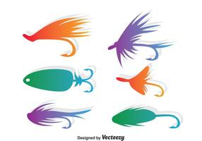 Färgglada Fly Fishing Vector Set