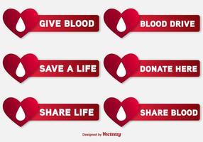 Blut-Laufwerk-Vektor-Etiketten