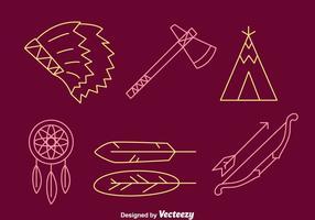 Indische Element Tin Linie Icons vektor