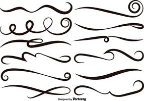Vector Set von schwarzen Swishes