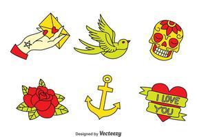 Gammal skola tatuering samling vektor