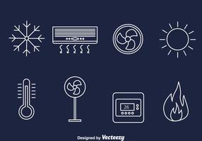 Hvac Line Icons Vektor