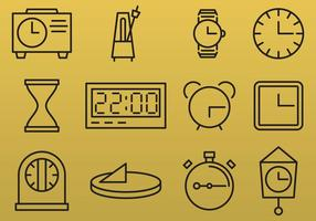 Line Clock Ikoner vektor