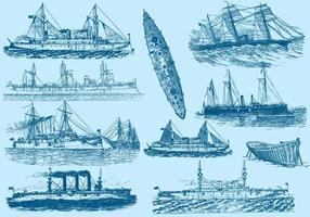 Vintage Boote und Schiffe vektor