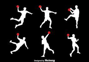 Silhuett handbollsspelare vektor uppsättning