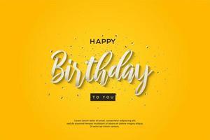 födelsedagbakgrund med vitskrivning för vit 3d
