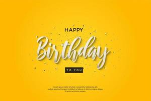 Geburtstagshintergrund mit 3d weißem Skriptschreiben