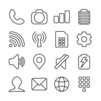 grundlinjeikoner för smarttelefongränssnitt eller temadesign vektor