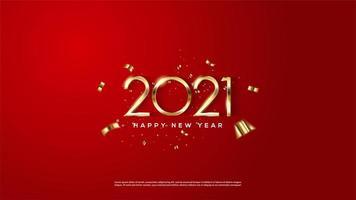 Hintergrund 2021 mit dünnen goldenen Zahlen