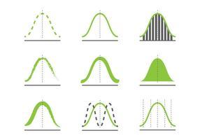 Gaussiska kurva ikoner vektor