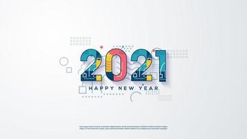 Hintergrund 2021 mit bunten Zahlen