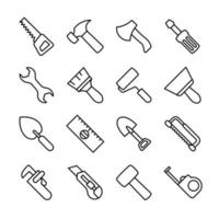 linje ikonuppsättning av snickeri verktyg