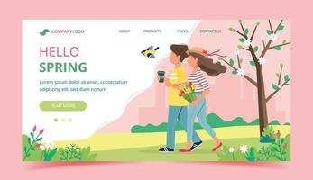 Hallo Frühlings-Landingpage mit Paar zu Fuß vektor