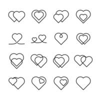 linje ikonuppsättning av hjärtan