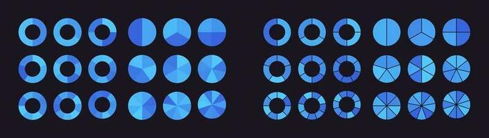 Sammlung von Kreisdiagrammen, die in Teile oder Sektoren unterteilt sind vektor
