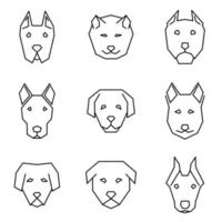 gerade Linie Symbolsatz von Hundegesichtern vektor