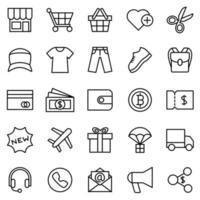 linje Ikonuppsättning för kläder e-handel webbplats