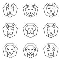 outine Ikonuppsättning hund ansikten