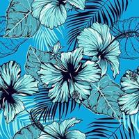 nahtloses Muster des blauen Hibiskus vektor