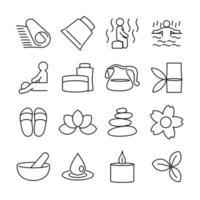 linje ikonuppsättning relaterade spa och massage aktivitet