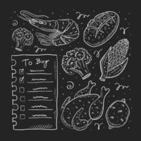 Liste handgezeichnetes Gekritzel zu kaufen vektor