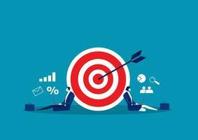 Geschäftsteam arbeitet und lehnt sich an das Ziel vektor