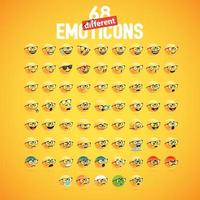 68 gula emotikonset vektor
