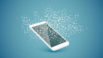 weiße Verbindungspunkte und Linien über dem Smartphone
