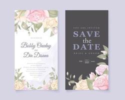 grått och vitt bröllop spara datumet med rosor