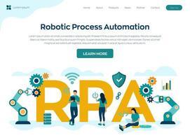 landningssida för robotprocessautomationsteknologi vektor