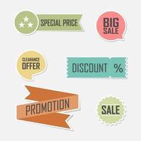 PR-försäljningsbanner och etikettuppsättning vektor