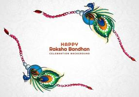glückliche Raksha Bandhan Pfau Armband Karte vektor